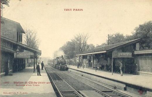 La même vue que celle de gauche quelques années avant. C est la Petite  ceinture Nord au niveau de la gare de l avenue de Clichy. 2524d092ab0
